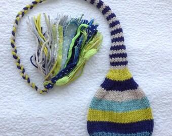 NeWBoRN Knit Baby Boy Hat BaBY PHoTO PRoP Long Newborn Stocking Hat BiG TaSSeL Beanie Navy Lime Teal Grey Aqua Stripe Coming Home Cap TiNKER
