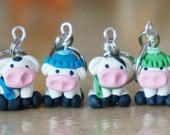 Cold Cow Polymer Clay Stitch Markers (herd of 4)