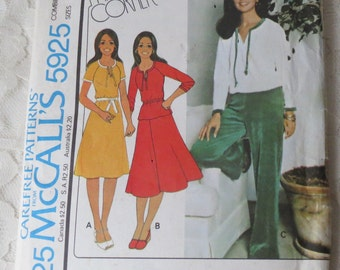 McCalls 5925 Sewing Pattern Marlos Corner Dress For Stretch Knits Top Skirt or Pants Size 12-16 Vintage 1978
