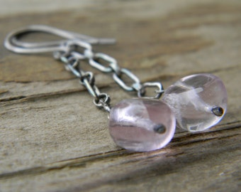 SALE - lavender fluorite swinger earrings - oxidized silver