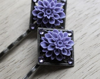 Brass Bobby Pins - Purple Flower - Swarovski Crystals