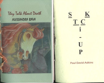 Get TWO 2014 Chapbooks for a lowered price - They Talk About Death by Alessandra Bava AND Stick Up by Paul David Adkins