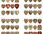 """Hearts Digital Collage Sheet - 64 Heart Images Assorted Sizes 3/4"""" - 1"""" Jewelry, Magnets, Craft Projects, Scrapbooking"""
