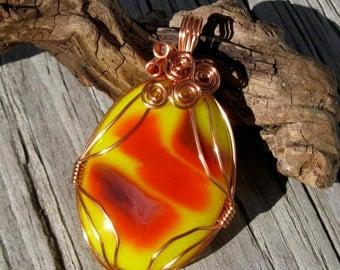 Autumn Sunburst Copper and Fused Glass Pendant