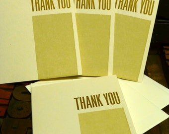 Block Letterpress Thank You Cards - Set of 4