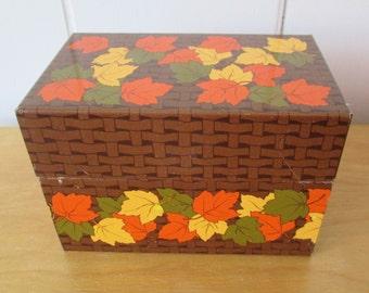 vintage leaf recipe box
