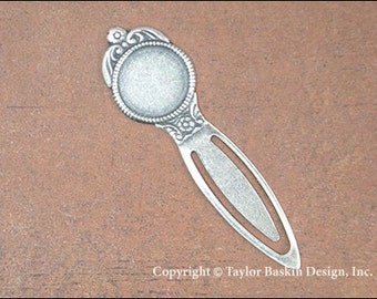 Brass Rope Bezel Bookmark Finding in Antiqued Sterling Silver Plate (item 708 AS) - 12 Pieces