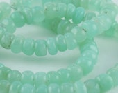 DESTASH Chalcedony Smooth Rondelle Beads in Green
