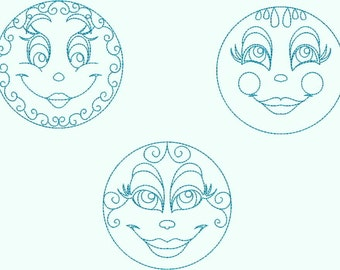 INSTANT DOWNLOAD Sun and Moon Redwork Machine Embroidery Designs