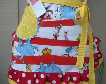 Dr. Seuss Apron - Womens Monogramed Apron - Half Apron - The Cat in the Hat Apron - Dr. Seuss - 1957 - Teachers Gift - Robert Kaufman Fabric