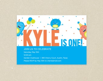 Birthday Party Invitations: Partying Monsters