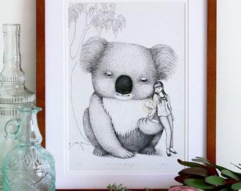 Koala, Art Print - by flossy-p. Giant, Australian animal, A4 size, illustration, drawing, print.