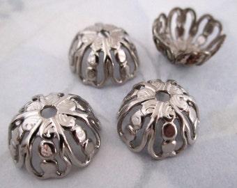 12 pcs. silver tone large filigree bead caps 14mm opening - f4126