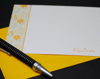 Citrus Floral, personalized flat cards, set of 8