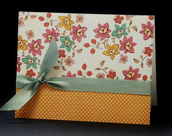 Soft Floral on Yellow, set of 4 blank greeting cards
