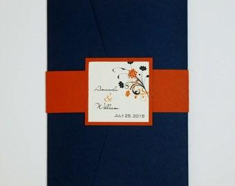 Navy and Orange, Corner Flourish, pocketfold wedding invitation suite, sample set