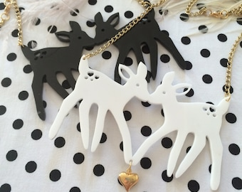 Black or White Acrylic Fawns Necklace