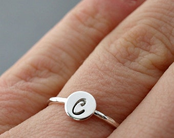 Initial Ring , Sterling Silver Ring , Script Letter Ring