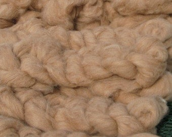 Alpaca Roving to Spin and Felt, Light Fawn Spinning Fiber, Soft Alpaca Roving, Beige Fibre, 2 ounces