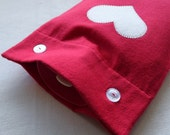 Red Flannel Hot Water Bottle Cover With Cream Heart Applique