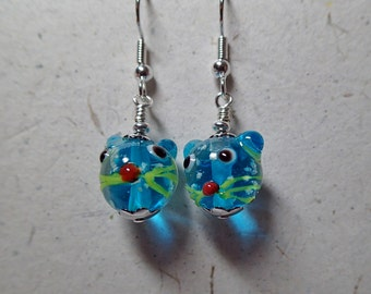 Capri Blue Playful Glass Kitty Cat Head Earrings with Silver THEY GLOW