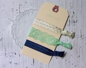 FOE Fold Over Elastic Hair Ties Ponytail Holders - Set of 3 - Ivory Gold Dot, Mint Lace, Navy - Classy & Feminine Hair Ties - Lace Hair Tie