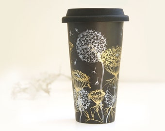 Black Ceramic Eco-Friendly Travel Mug - Queen Anne's Lace and Dandelions - Silver & Gold Drawing Collection