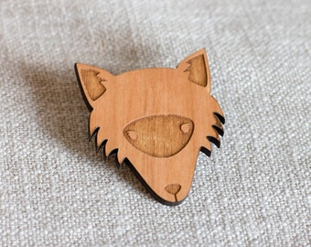 Fox brooch - fox jewellery - fox gift - gift for fox lover - fox face brooch - fox head brooch - fox jewelry - wood fox jewellery