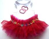 Dog Clothes Valentine hearts :red reindeer holiday dog tutu  Hearts  Candycane  or Reindeer  or Snowman