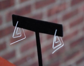Abstract Chevron Triangle Sterling Silver Earrings Eco Friendly Recycled