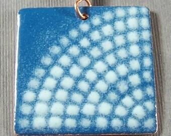 Medium blue and White Square Enameled Pendant