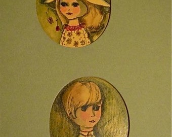 Vintage  60s  70s Original Girl Boy Portrait  Kitsch Cute Illustrations Oval Cut out Mat  Kawaii Diana Barnes