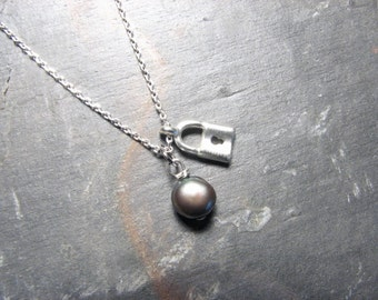 Free Shipping- Little Black Pearl, Charm Necklace