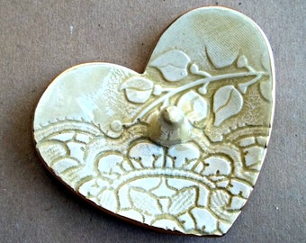 Ceramic Ring Holder Bowl Lace Heart Pale Yellow