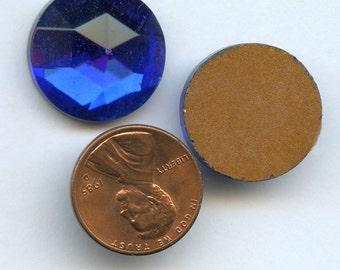 Cobalt BLUE RHINESTONES Cabochons Vintage Lot of (12) Glass 11mm Gold Foil Flat Back rcb10 MORE AVAlLABLE