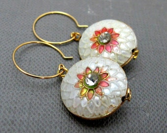 Cloisonne Sunflower Earrings // Sunflower Cloisonne Bead // Gold Plated Earrings // Gift under 30