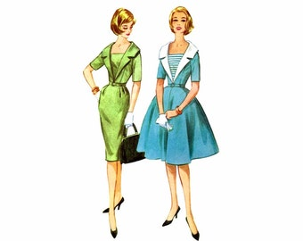 1960s Womens Sheath Dress McCalls 5560 Vintage Sewing Pattern Slim or Full Skirt Wide Collar Misses Size 13 Bust 33 UNCUT