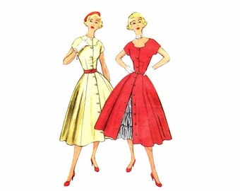 1950s Misses Full Skirt Dress Ruffled Petticoat Simplicity 3815 Vintage Sewing Pattern Size 16 Bust 34 UNCUT