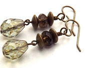 Brass Smokey Quartz and Czech Glass Earrings