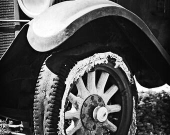 Black and White Photo Fine Art Photography Antique Car Flat Tire Wheel Spokes Archival Print Home Decor
