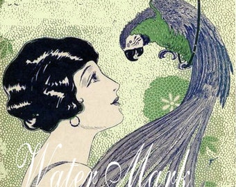 Parrot and flapper with black wavy hair*1920 style*Sheet music*Two*Instant digital download