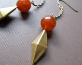 Rhombus Earrings - Vintage Brass Diamond Shaped Charm with Carnelian Lucite Bead and Shiny Gold Chain - Geometric Earrings FREE SHIPPING