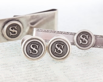 Cufflinks, Tie Clip and Money Clip Gift Set, Antiqued Silver, Made to Order