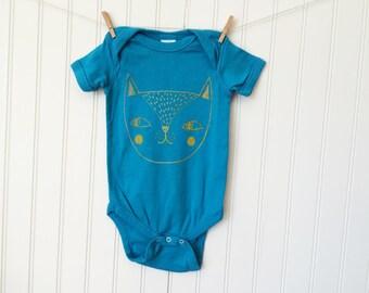 Cat bodysuit / baby / infant / cotton / silkscreen / unisex / 12 months