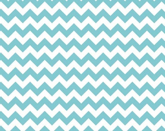 Small Chevron in Aqua knit jersey cotton spandex fabric from Riley Blake - 1 yard