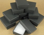 Black Striped Chipboard Jewelry Gift Boxes - Set of 48  / 3 1/4 x 2 1/4 x 1 Inch