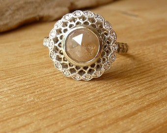 Edwardian Scalloped Diamond Halo Ring - Deposit