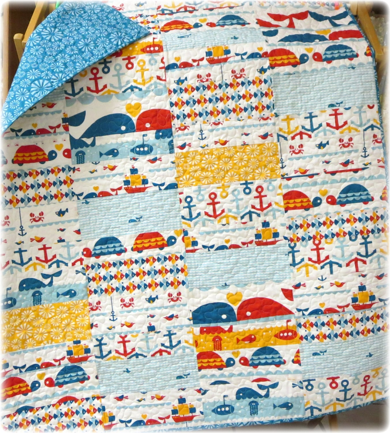 Organic baby quilt marine too nautical birch fabrics crib for Nautical nursery fabric