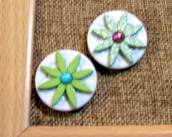 White and Green Button Tacks, Push Pins, Thumbtacks, Cork Board Accessory, Tack Board, Pin Board, Gift for Her, Birthday Gift