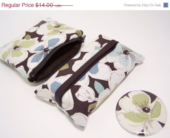 50% Off Discontinued Brown Floral Accessory Set Coin Purse Pocket Mirror Tissue Cozy